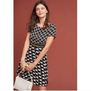 New Maeve by Anthropologie Swan print flare dress